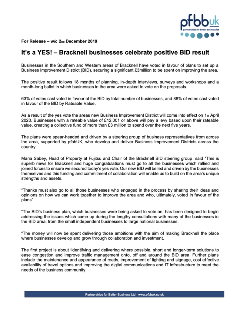 20191202 Bracknell BID Press Release 10 - Its a YES and preparation for Ops